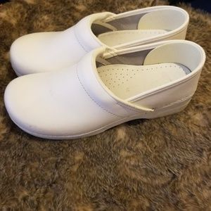 White Leather Dansko Clogs